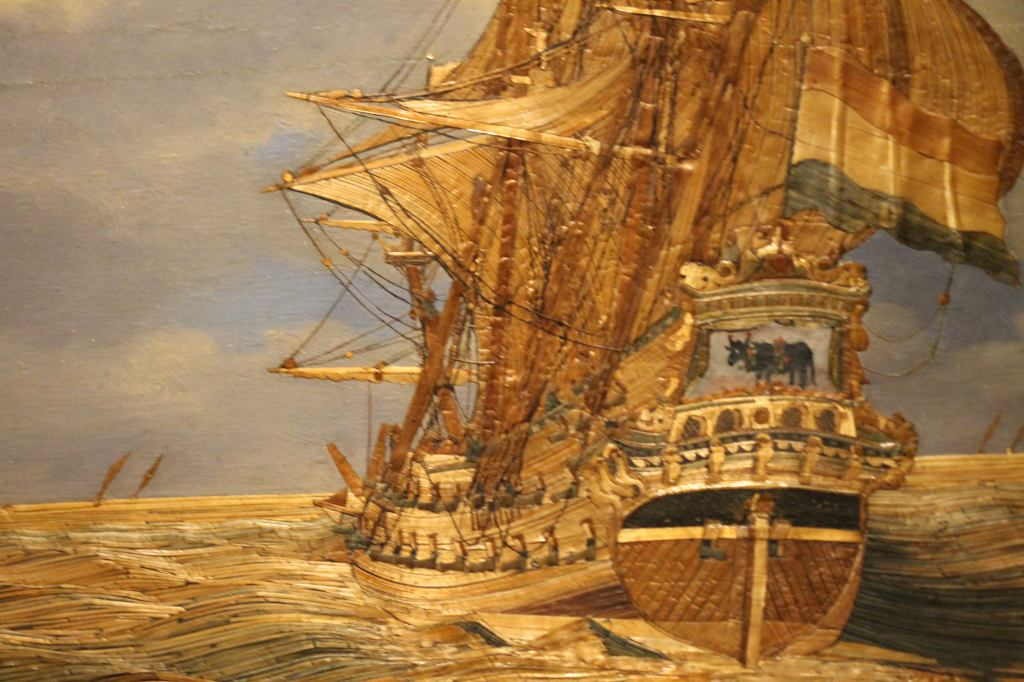 Hendrick Pronck: Strawpainting of the ship *The Bull* (1675-1700)  Straw Naval Ship