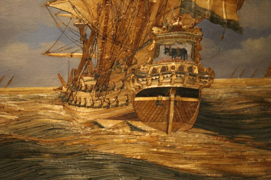 Hendrick Pronck: Strawpainting of the ship *The Bull* (1675-1700) Straw Naval