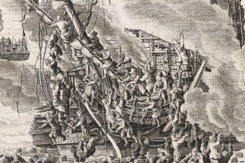 The Battle of Livorno (Leghorn), Willem van de Velde (I), c. 1659 - c. 1699 Naval Battle - Pencil Painting